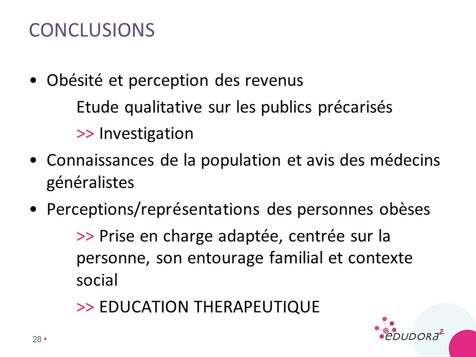 Conclusions Obésité et perception des revenus