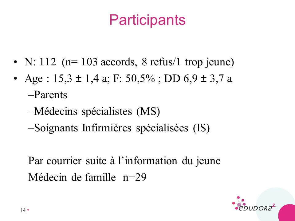 Participants N: 112 (n= 103 accords, 8 refus/1 trop jeune)