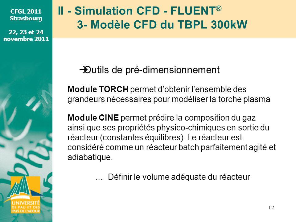II - Simulation CFD - FLUENT® 3- Modèle CFD du TBPL 300kW