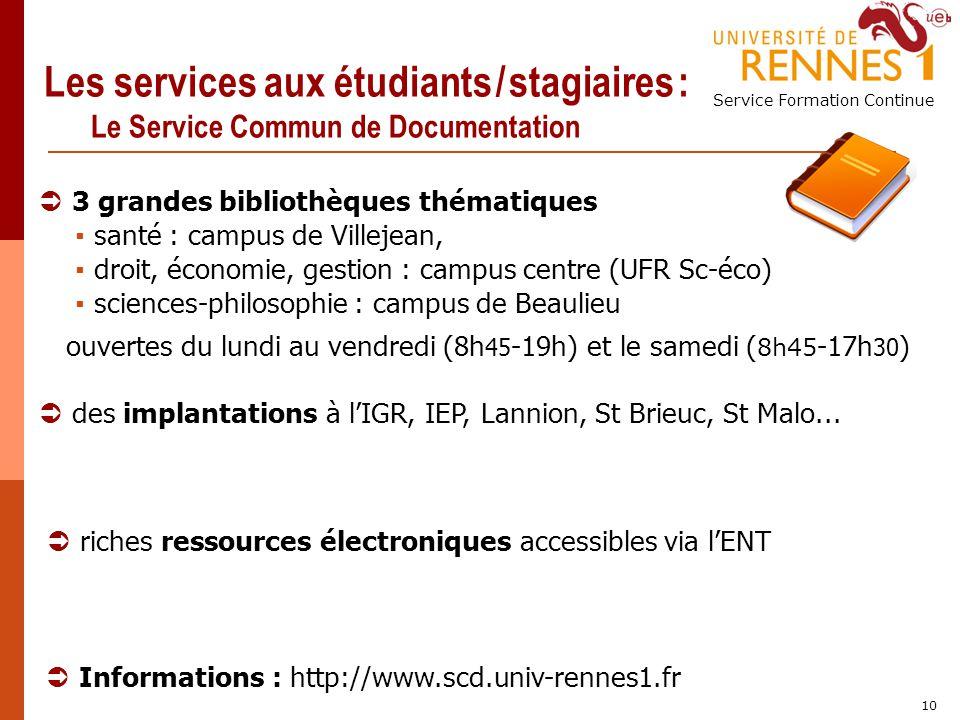 Les services aux étudiants / stagiaires : Le Service Commun de Documentation