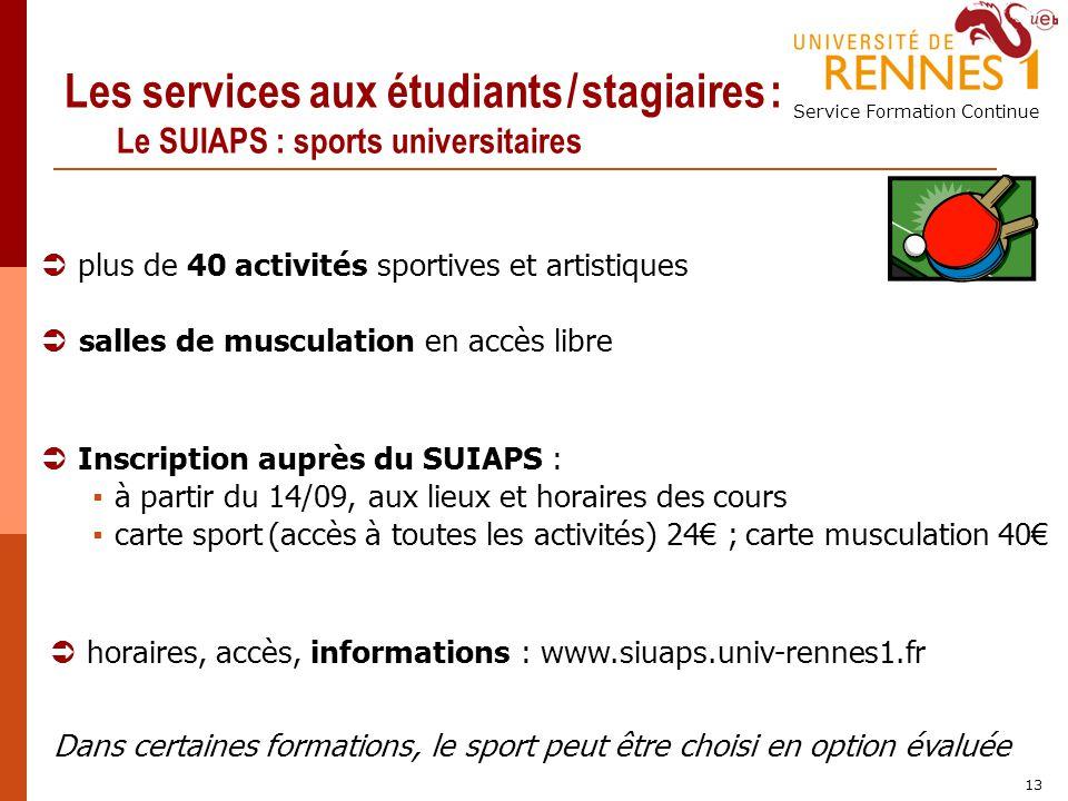 Les services aux étudiants / stagiaires : Le SUIAPS : sports universitaires