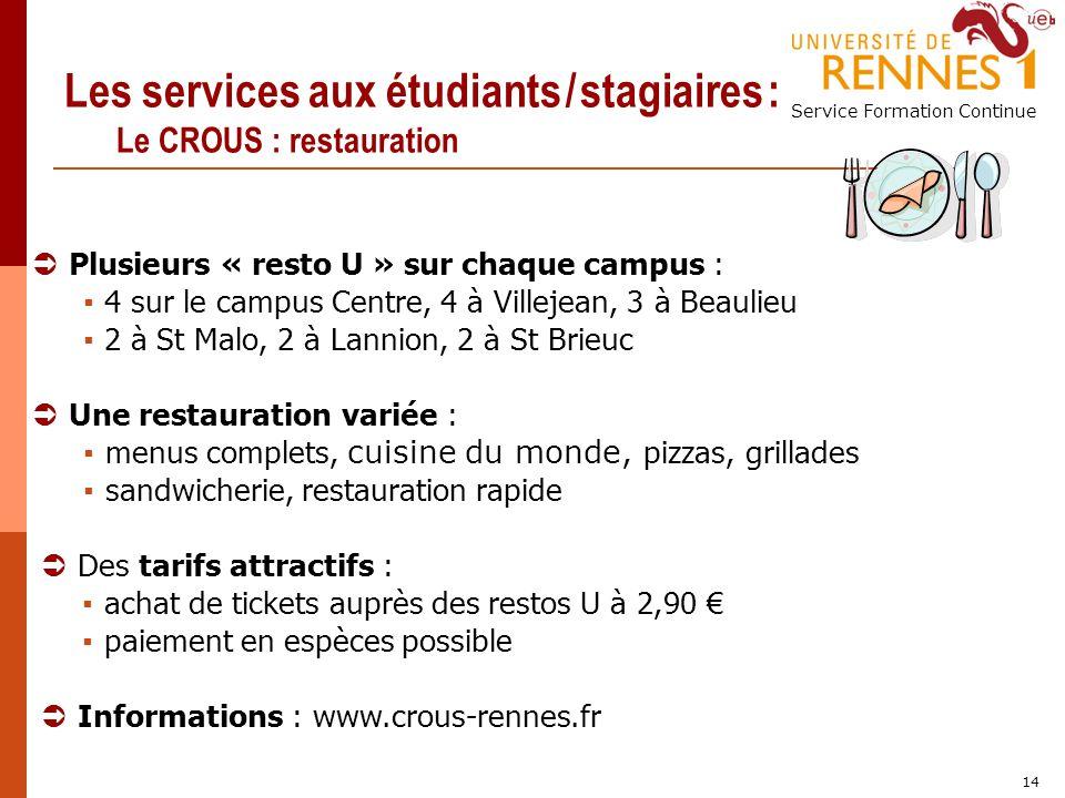 Les services aux étudiants / stagiaires : Le CROUS : restauration