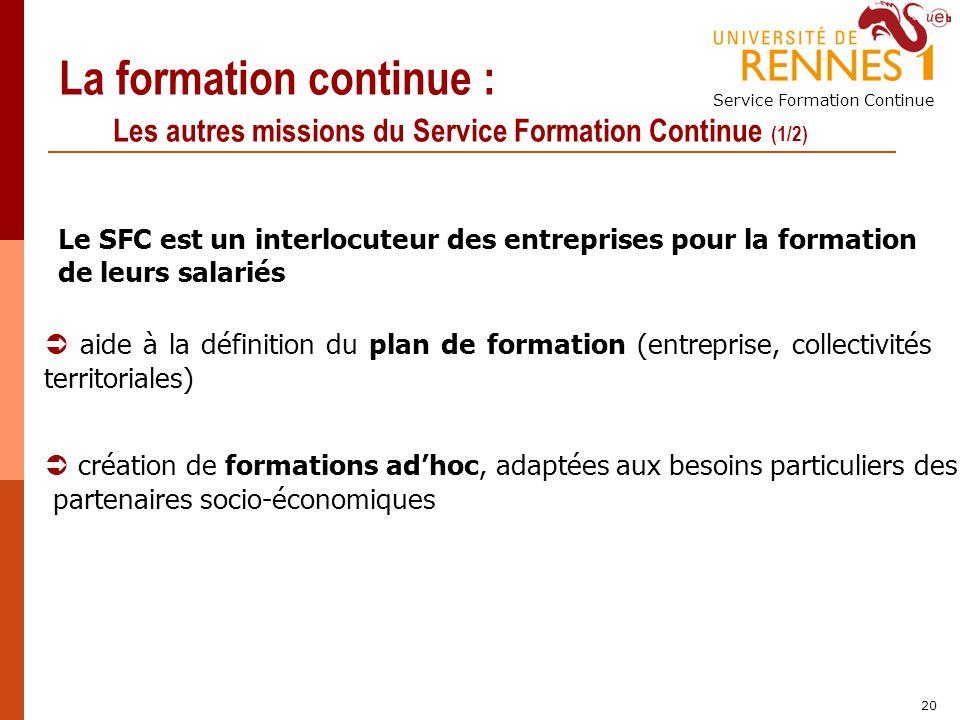 La formation continue : Les autres missions du Service Formation Continue (1/2)