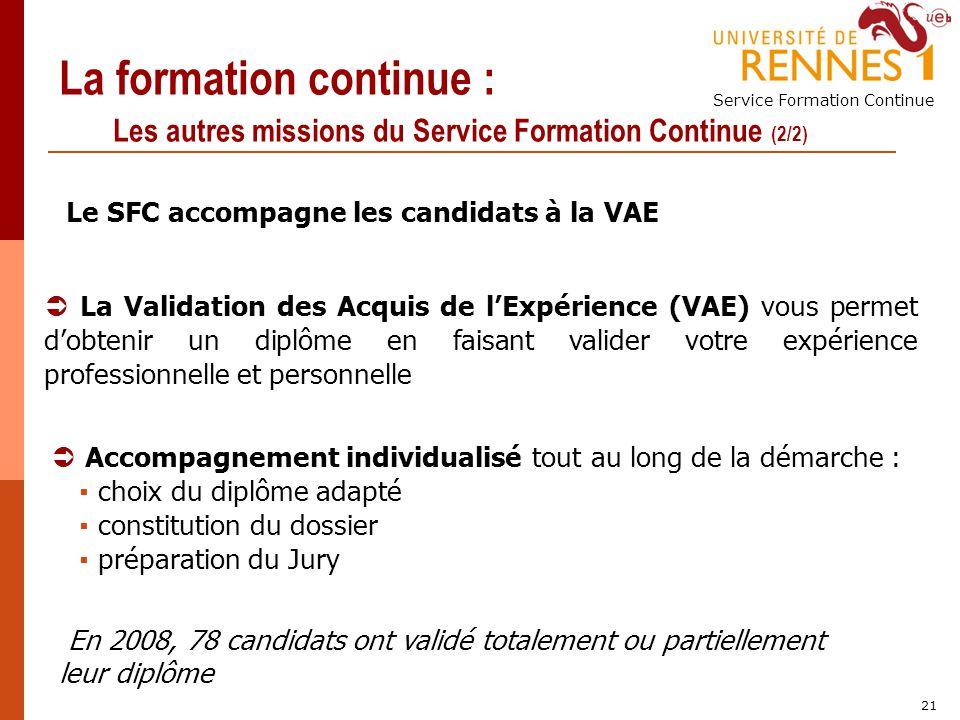 La formation continue : Les autres missions du Service Formation Continue (2/2)