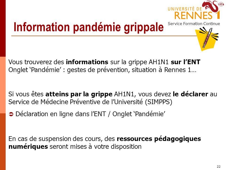 Information pandémie grippale