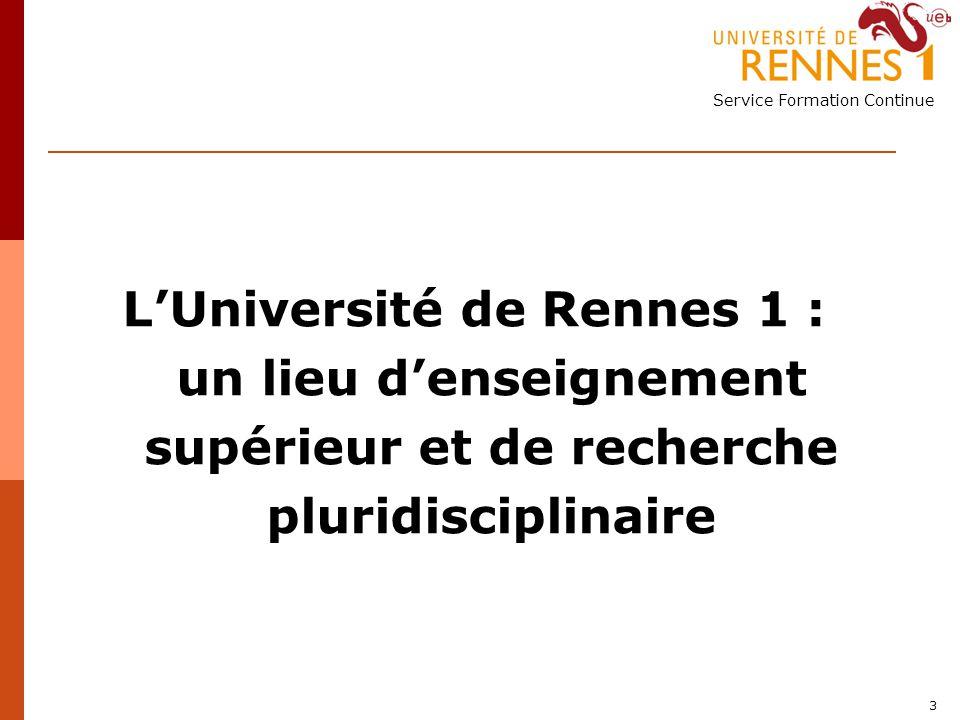 L'Université de Rennes 1 : un lieu d'enseignement supérieur et de recherche pluridisciplinaire