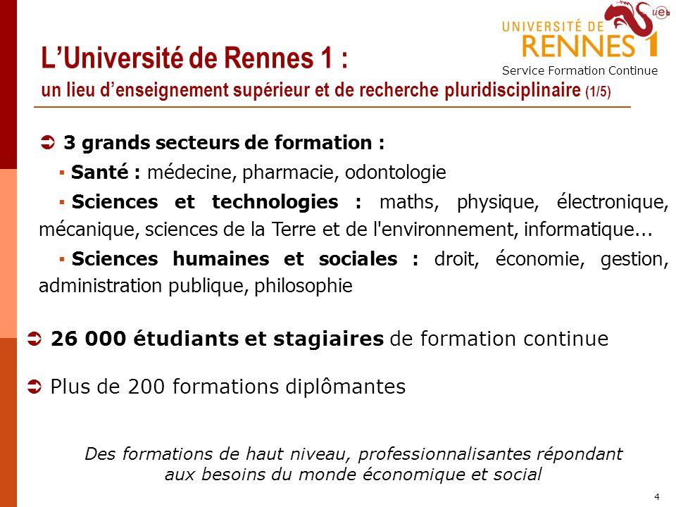 L'Université de Rennes 1 : un lieu d'enseignement supérieur et de recherche pluridisciplinaire (1/5)