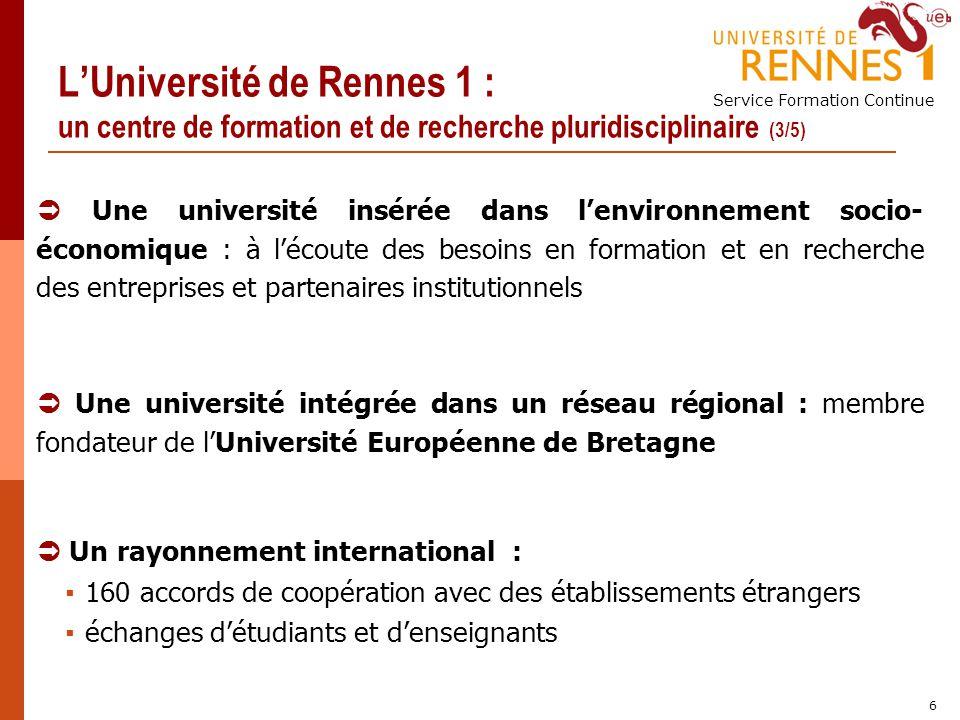 L'Université de Rennes 1 : un centre de formation et de recherche pluridisciplinaire (3/5)