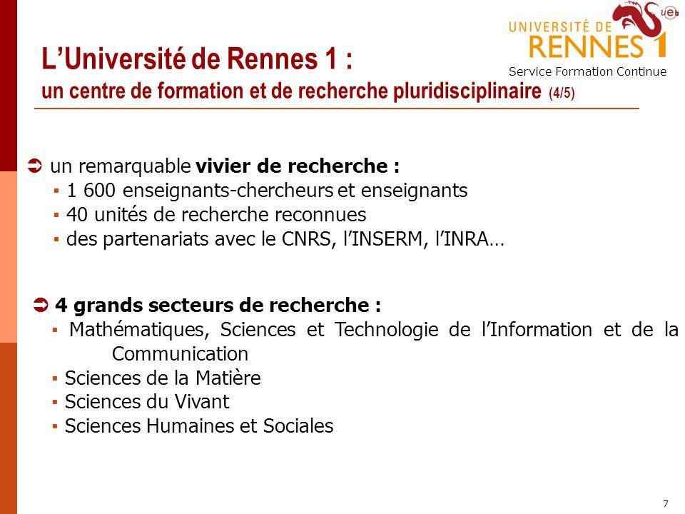 L'Université de Rennes 1 : un centre de formation et de recherche pluridisciplinaire (4/5)