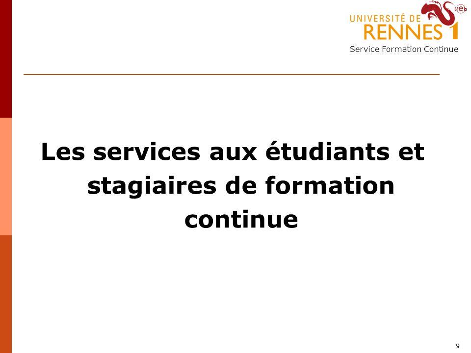 Les services aux étudiants et stagiaires de formation continue