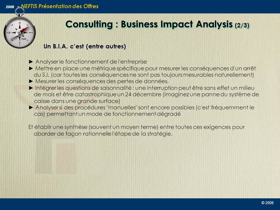 Consulting : Business Impact Analysis (2/3)