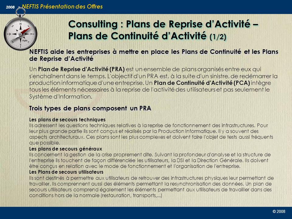 Consulting : Plans de Reprise d'Activité – Plans de Continuité d'Activité (1/2)