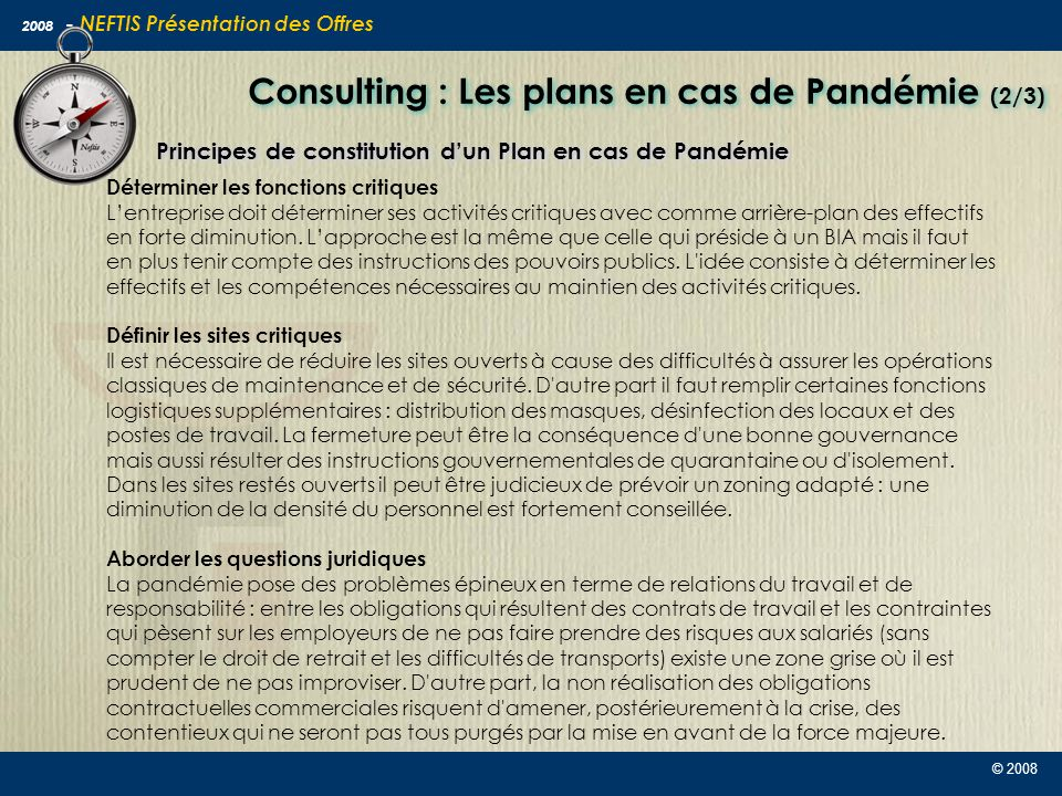 Consulting : Les plans en cas de Pandémie (2/3)