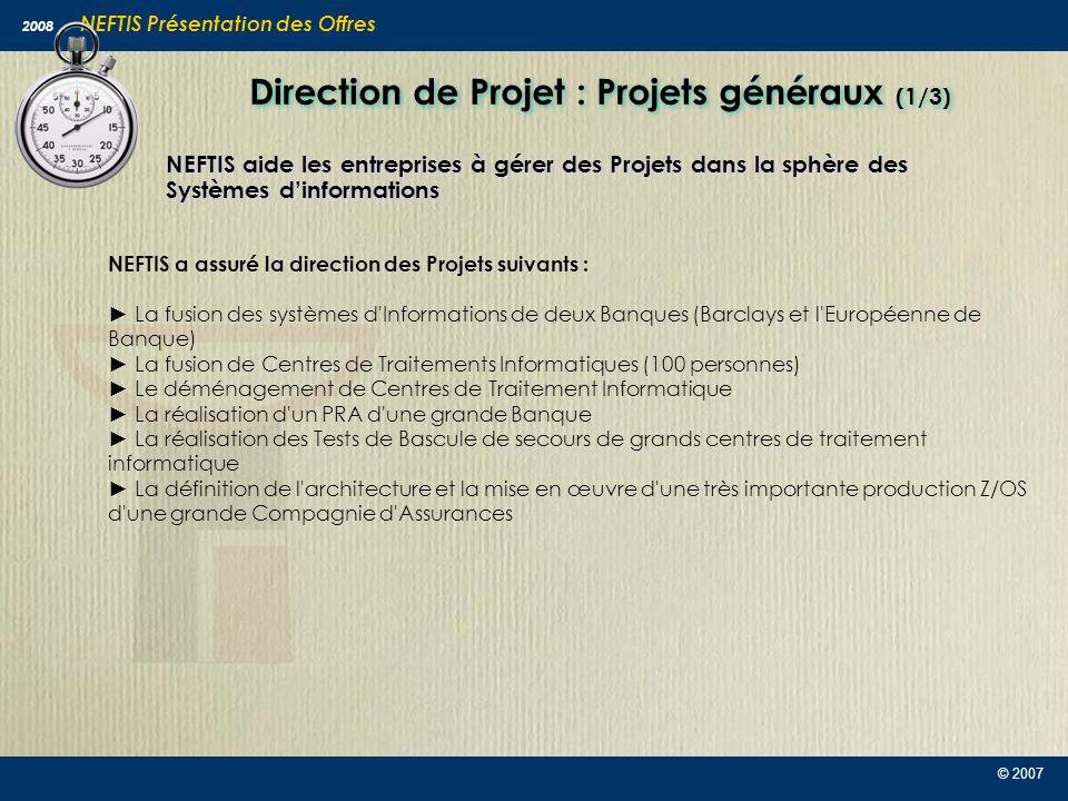 Direction de Projet : Projets généraux (1/3)