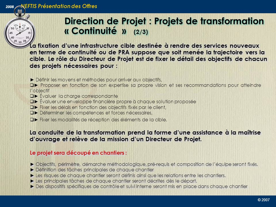 Direction de Projet : Projets de transformation « Continuité » (2/3)