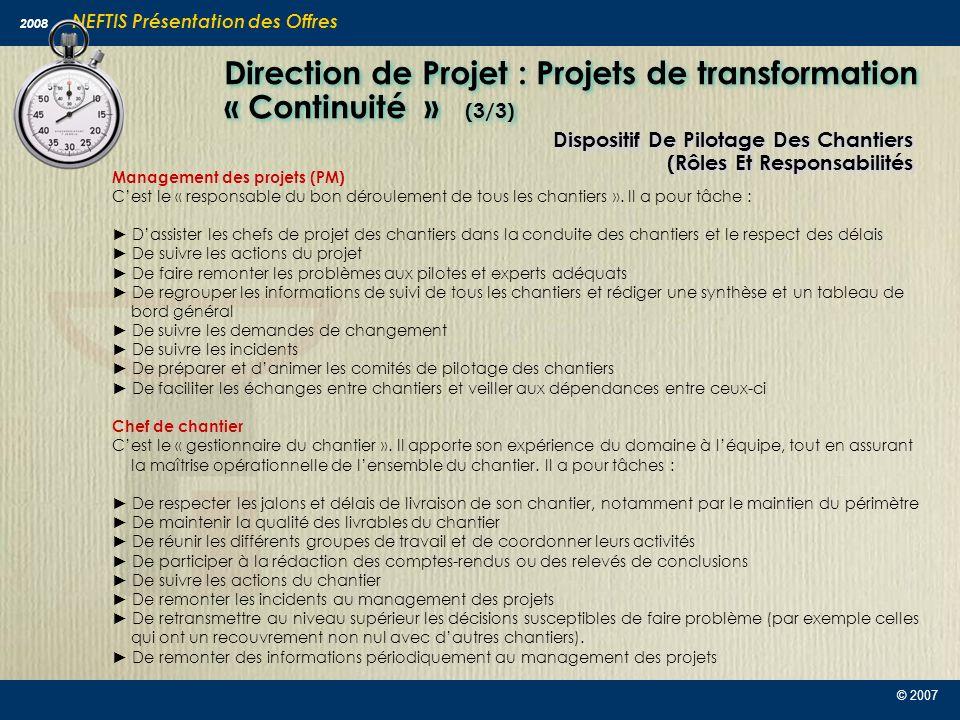 Direction de Projet : Projets de transformation « Continuité » (3/3)