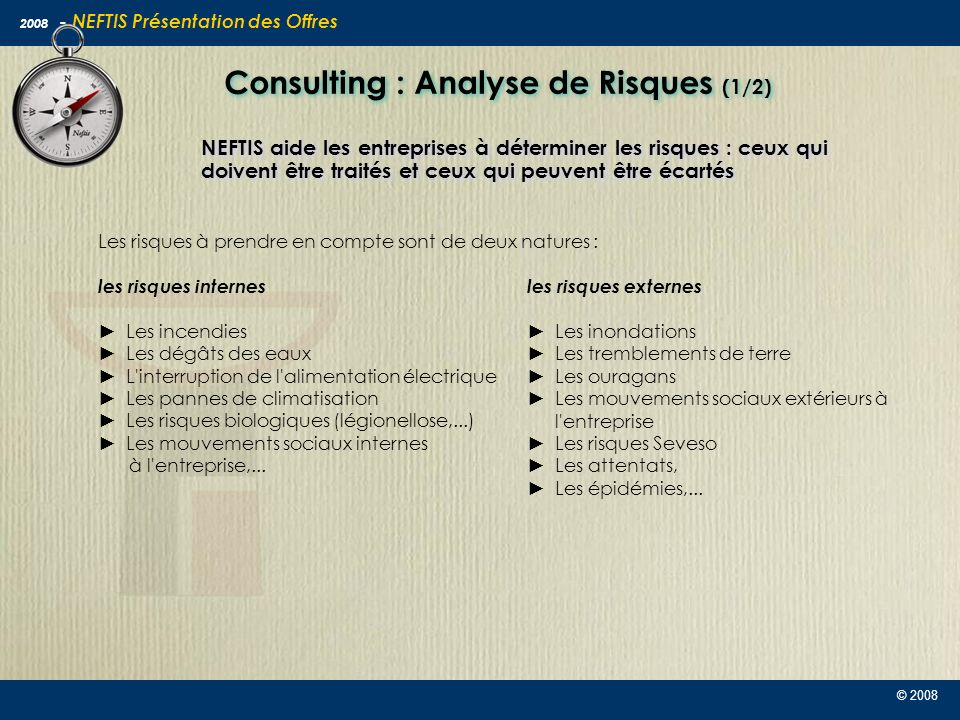 Consulting : Analyse de Risques (1/2)