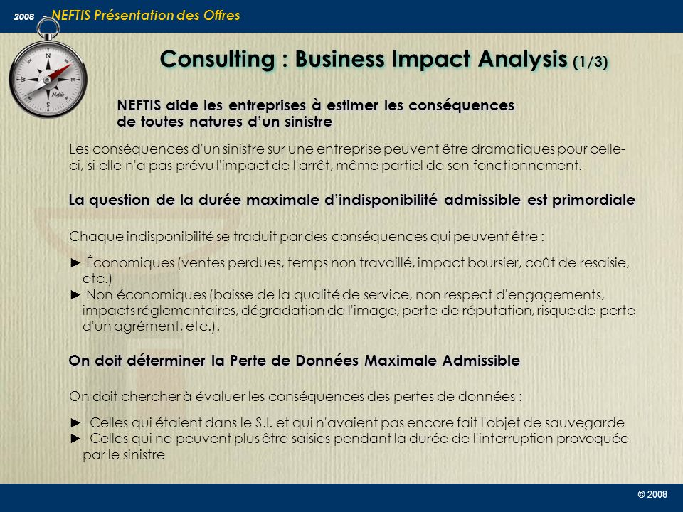 Consulting : Business Impact Analysis (1/3)