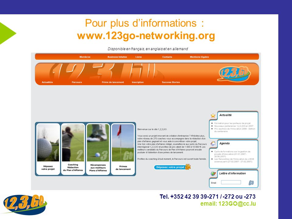 Pour plus d'informations : www.123go-networking.org