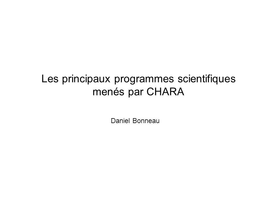 Les principaux programmes scientifiques menés par CHARA
