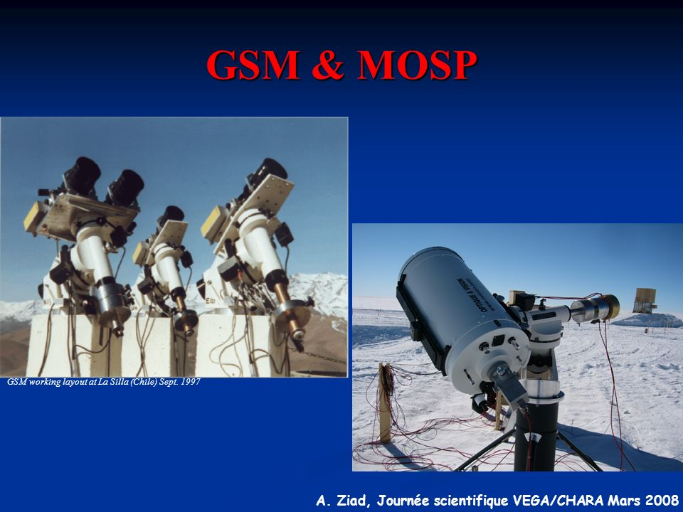 GSM & MOSP GSM working layout at La Silla (Chile) Sept. 1997