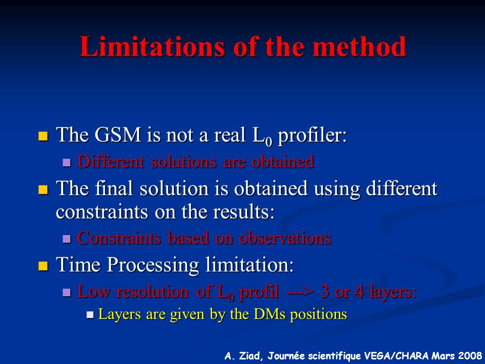 Limitations of the method