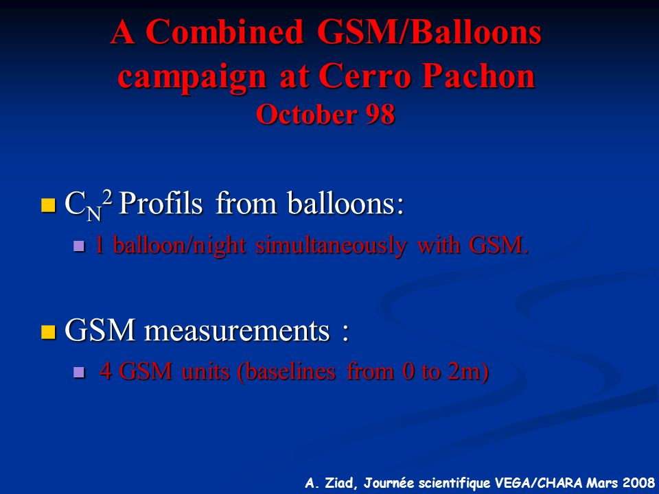 A Combined GSM/Balloons campaign at Cerro Pachon October 98