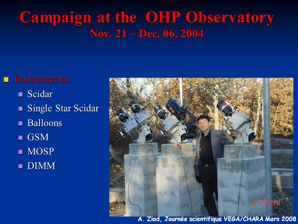 Campaign at the OHP Observatory Nov. 21 – Dec. 06, 2004