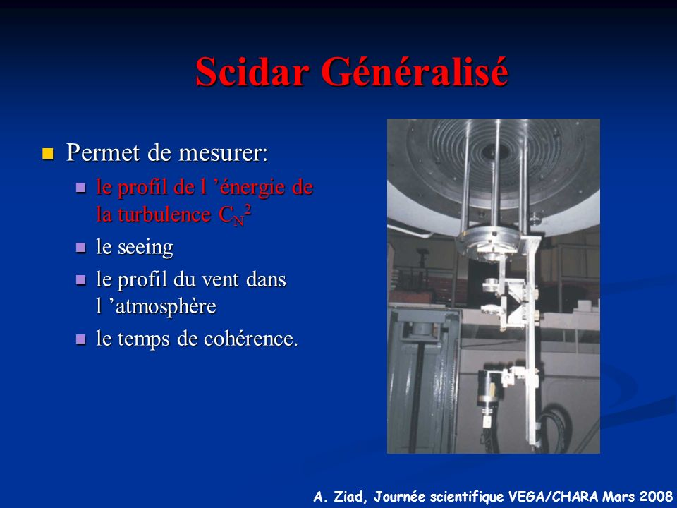 Scidar Généralisé Permet de mesurer: