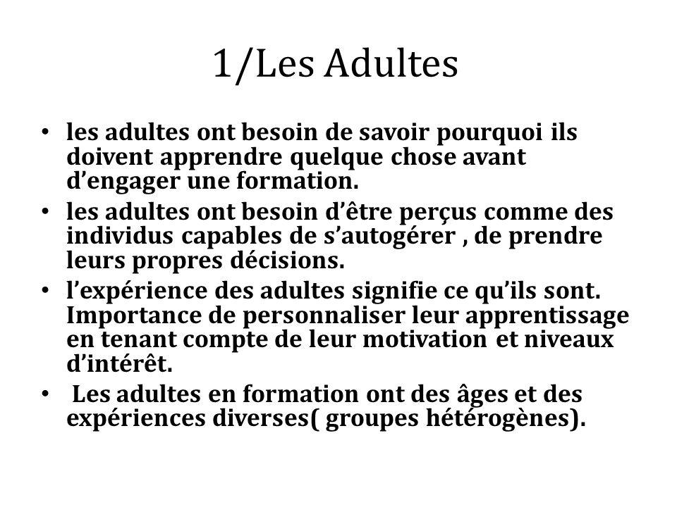 1/Les Adultes les adultes ont besoin de savoir pourquoi ils doivent apprendre quelque chose avant d'engager une formation.