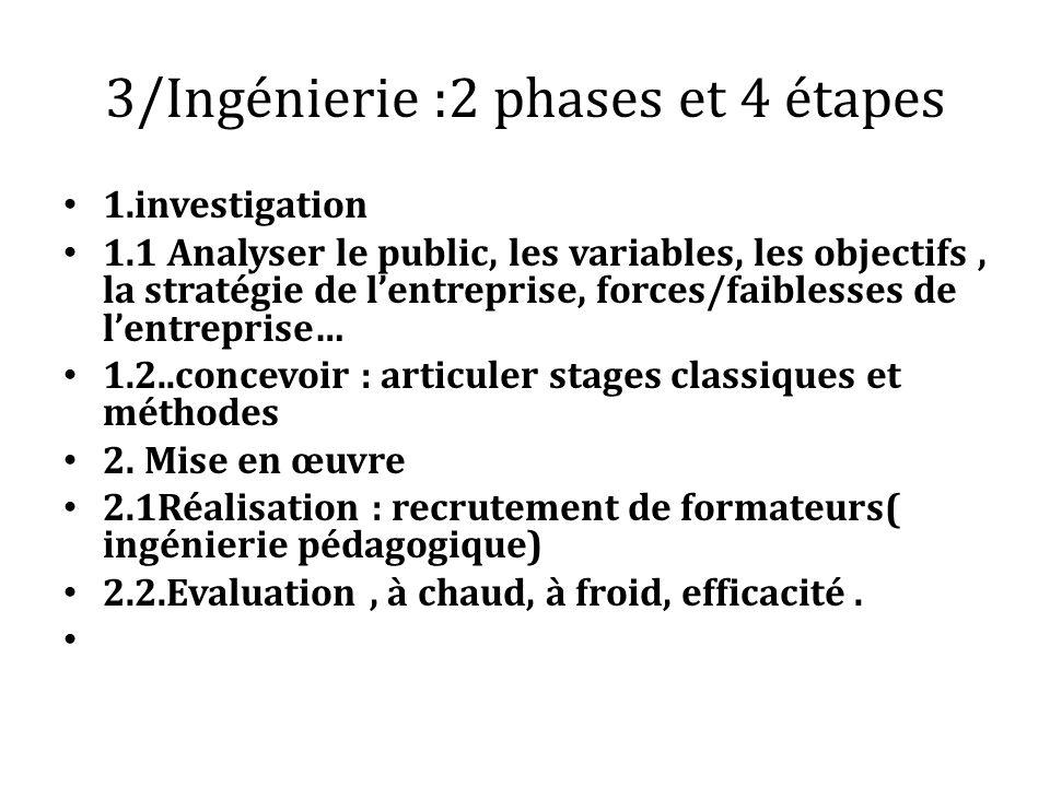 3/Ingénierie :2 phases et 4 étapes