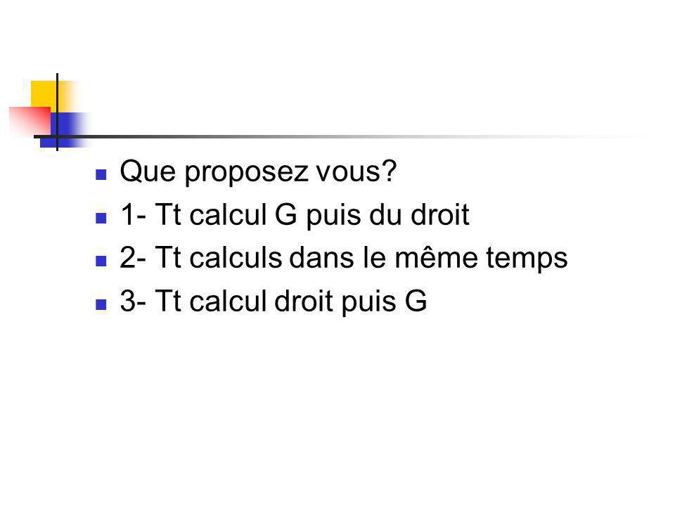 Que proposez vous. 1- Tt calcul G puis du droit. 2- Tt calculs dans le même temps.