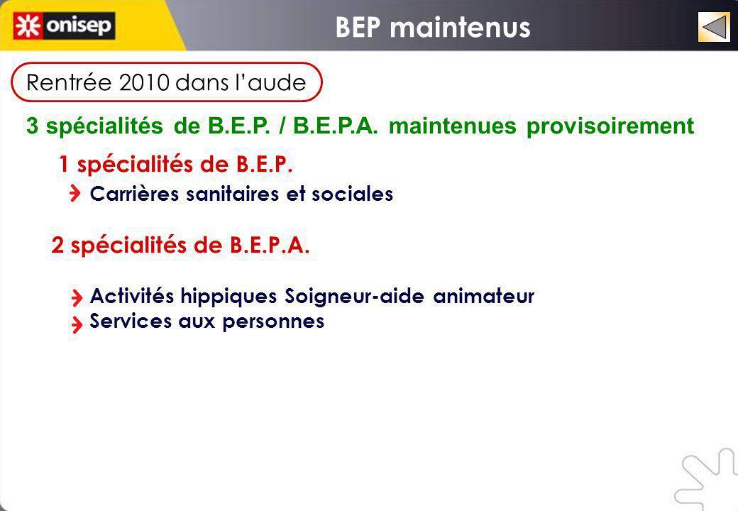 BEP maintenus Rentrée 2010 dans l'aude. 3 spécialités de B.E.P. / B.E.P.A. maintenues provisoirement.
