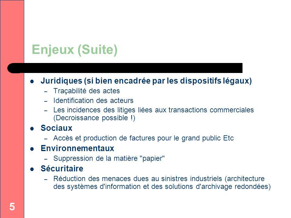 Enjeux (Suite)Juridiques (si bien encadrée par les dispositifs légaux) Traçabilité des actes. Identification des acteurs.