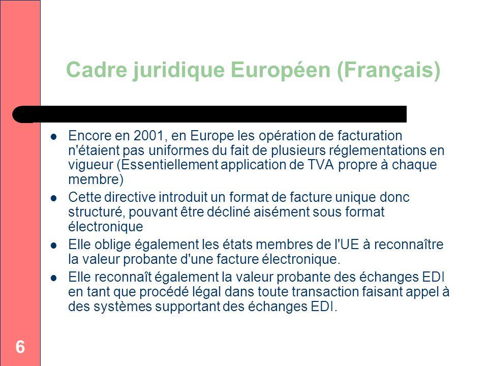 Cadre juridique Européen (Français)