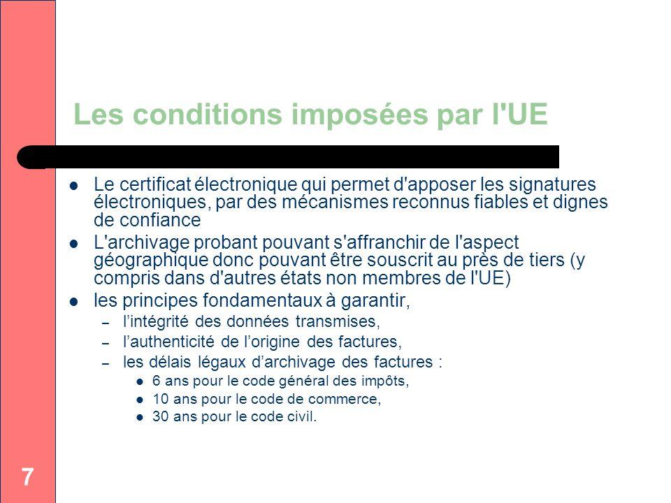 Les conditions imposées par l UE