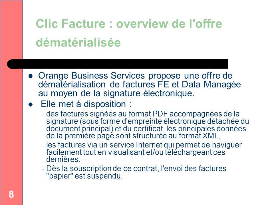 Clic Facture : overview de l offre dématérialisée