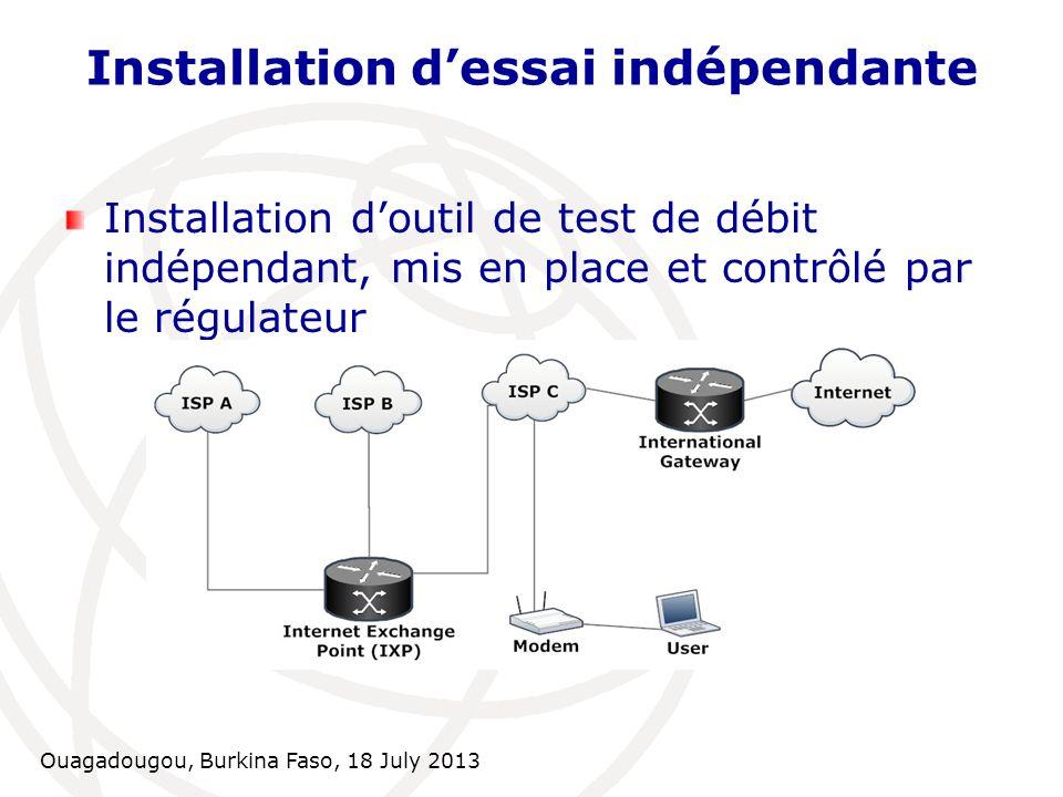 Installation d'essai indépendante