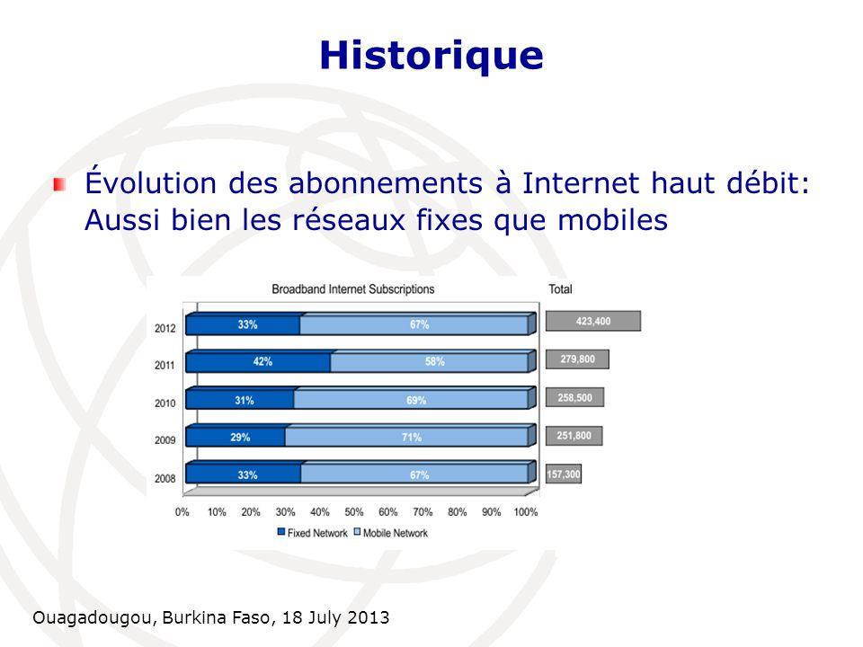 HistoriqueÉvolution des abonnements à Internet haut débit: Aussi bien les réseaux fixes que mobiles.