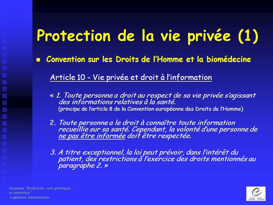 Protection de la vie privée (1)