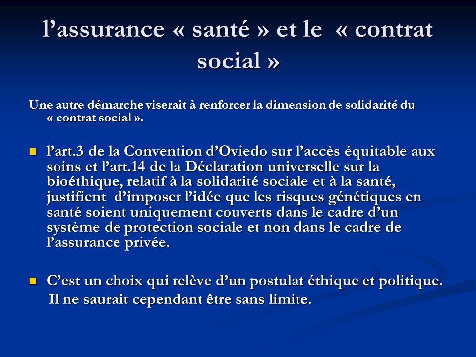 l'assurance « santé » et le « contrat social »