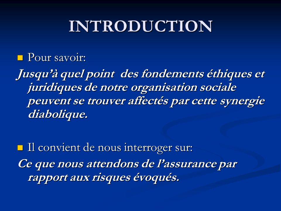 INTRODUCTION Pour savoir: