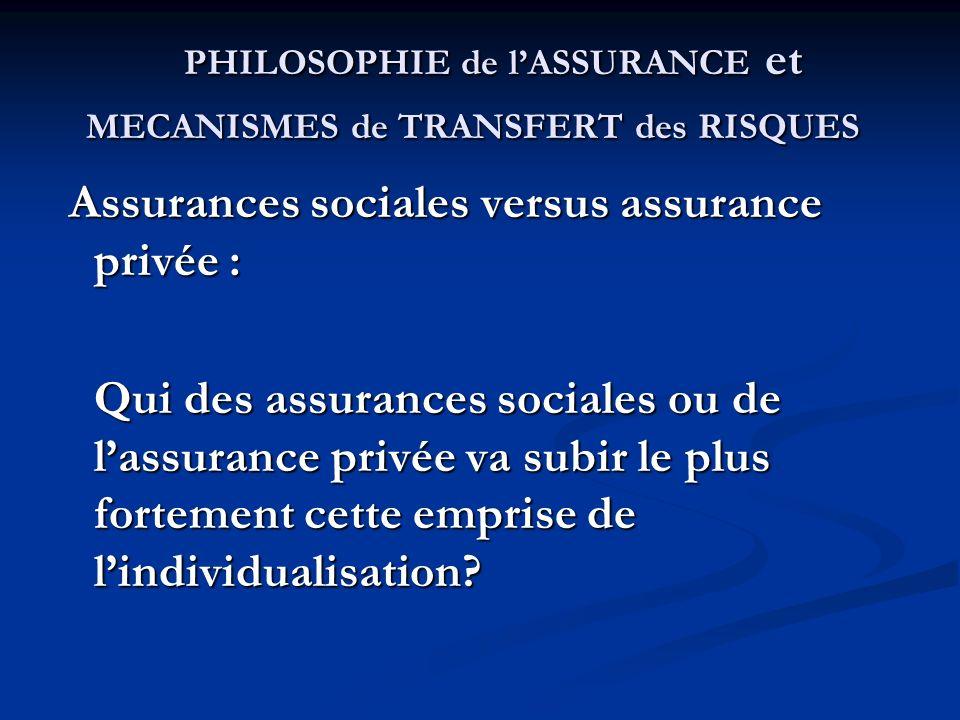 PHILOSOPHIE de l'ASSURANCE et MECANISMES de TRANSFERT des RISQUES