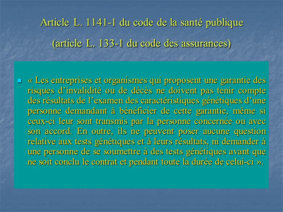 Article L. 1141-1 du code de la santé publique (article L