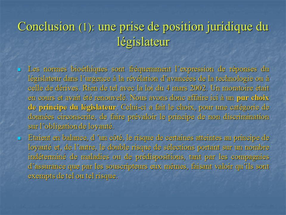 Conclusion (1): une prise de position juridique du législateur