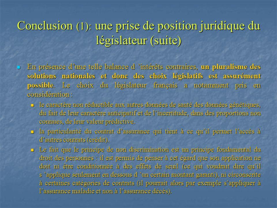 Conclusion (1): une prise de position juridique du législateur (suite)