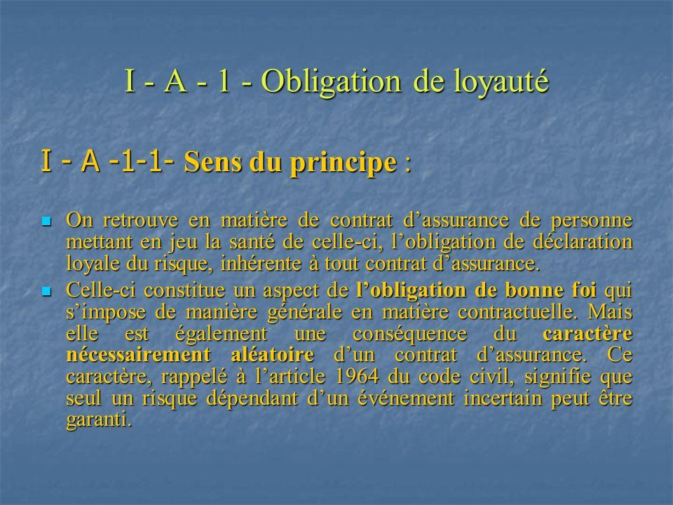 I - A - 1 - Obligation de loyauté