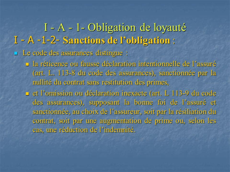 I - A - 1- Obligation de loyauté