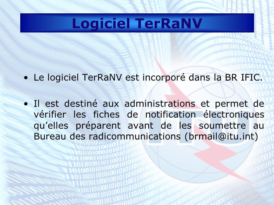 Logiciel TerRaNV Le logiciel TerRaNV est incorporé dans la BR IFIC.