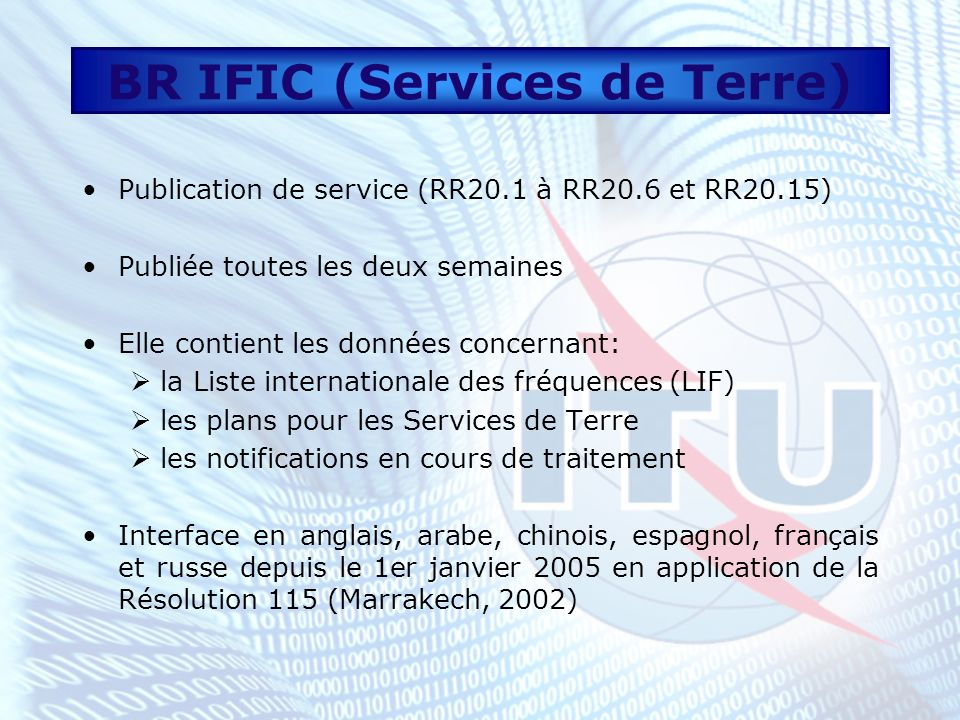 BR IFIC (Services de Terre)